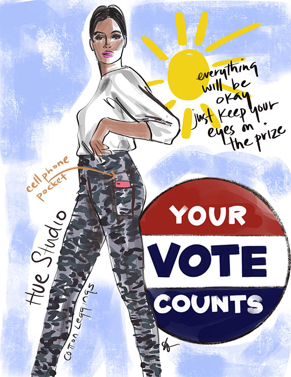 Tina Wilson illustrates which leggings to the polls as featured on Lingerie Briefs