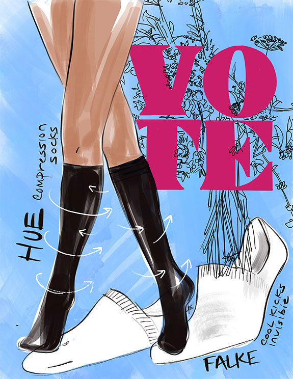 Tina Wilson illustrates which socks to the polls as featured on Lingerie Briefs