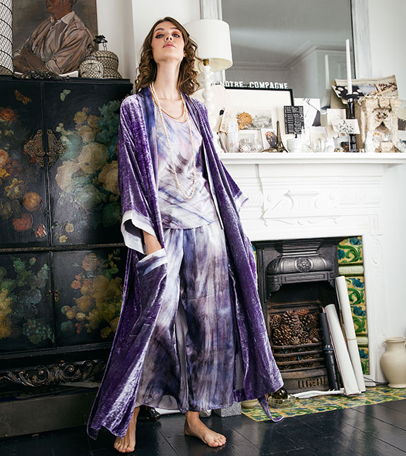 Lucy Jones Lingerie silk halter pj and robe as featured on Lingerie Briefs