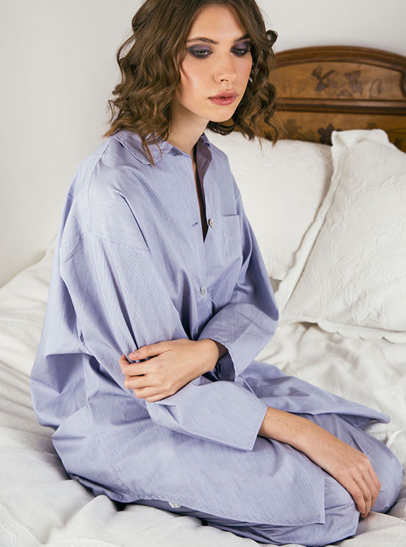 Lucy Jones Lingerie silk pajama set as featured on Lingerie Briefs