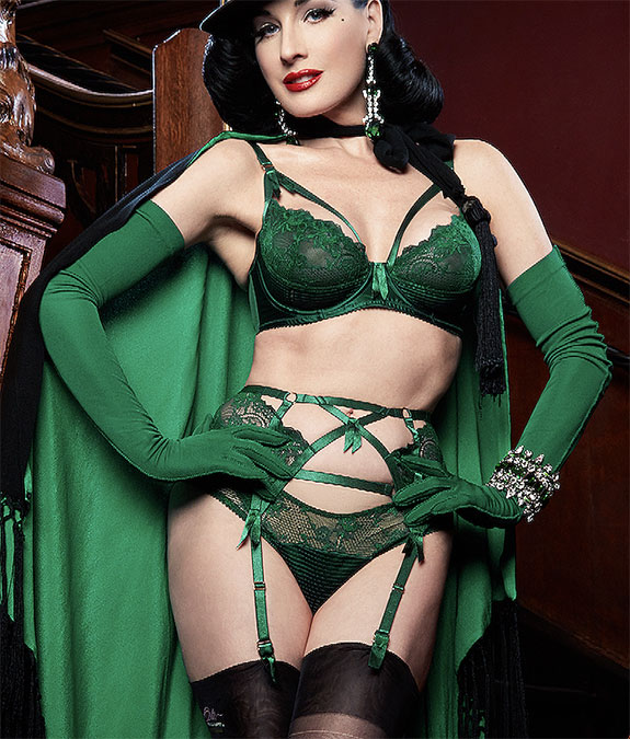 Dita Von Teese Madame X lingerie in emerald green as featured on Lingerie Briefs