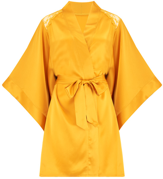 Katherine Hamilton Sophia silk robe now in ginger - featured on Lingerie Briefs