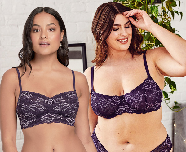 Montelle's color purple velvet with orchid accents on Cup-sized Bralettes - featured on Lingerie Briefs