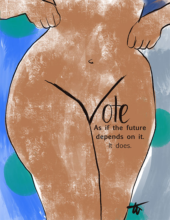 Tina Wilson Illustrates the Power of the Vote, which lingerie to wear to the polls all featured on Lingerie Briefs