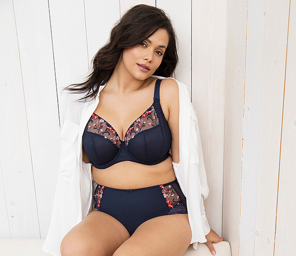 Elomi plus size Charley T Shirt Bra in Navy as featured on Lingerie Briefs