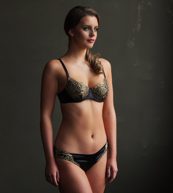 Emma Harris best-selling Cleo balcony bra and thong in black and gold - featured on Lingerie Briefs