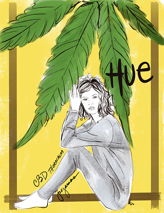 Hue CBD Theracalm pajamas as illustrated by Tina Wilson for Lingerie Briefs