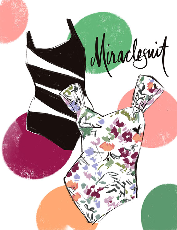 Miraclesuit swimwear as illustrated by Tina Wilson for Lingerie Briefs