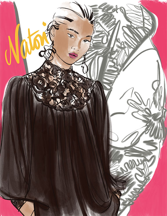 Natori loungewear as illustrated by Tina Wilson for Lingerie Briefs