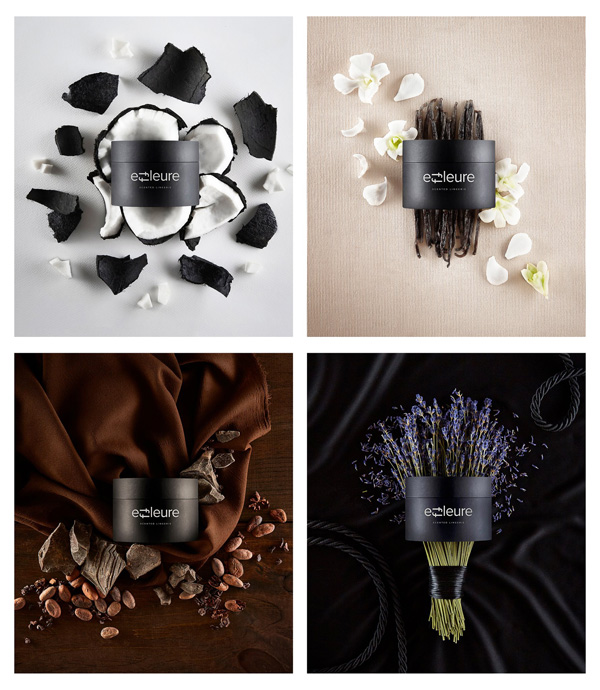Effleure lingerie in black coconut, lavender, vanilla and dark chocolate scents - featured on Lingerie Briefs