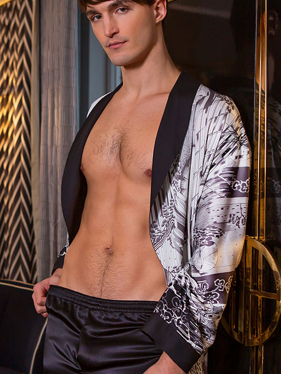 Christine Silk's Morton Men's Silk robe collection as feature on Lingerie Briefs
