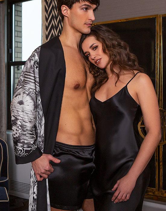 Christine Silk's Morton Men's Silk robe collection as feature on Lingerie Briefs