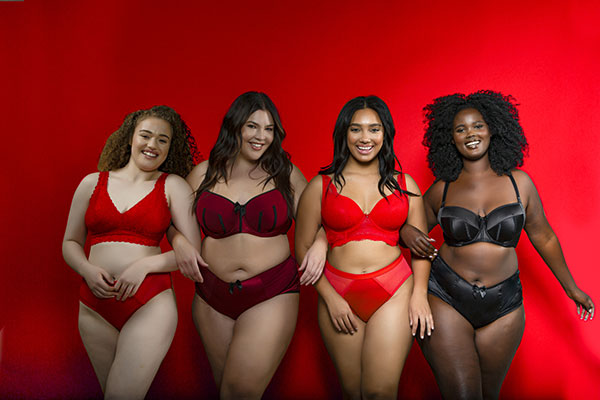 Parfait Lingerie bras in festive reds and black as featured on Lingerie Briefs