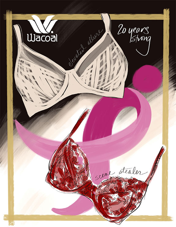 Fashion Illustration, Wacoal America by Tina Wilson as featured on Lingerie Briefs