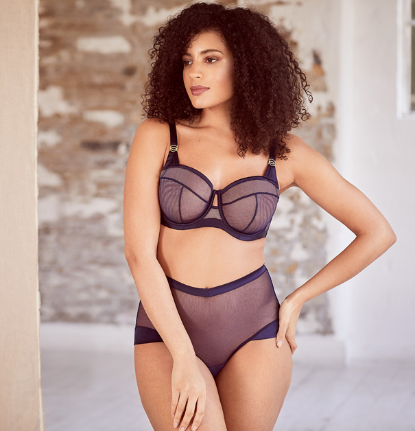 Katherine Hamilton Nina collection in navy featured on Lingerie Briefs