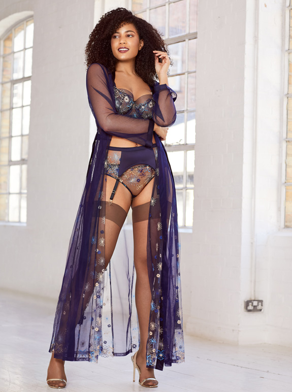 Katherine Hamilton SS21 Eden collection in navy blue - featured on Lingerie Briefs