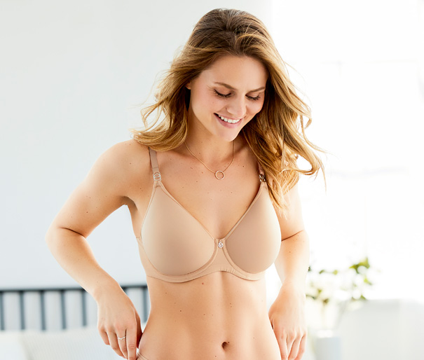 Montelle's Spacer Bra - is like going braless, in sand - featured on Lingerie Briefs