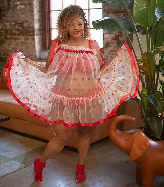 LiviRae Lingerie's Maxi Mahlon gown for plus sizes as featured on Lingerie Briefs