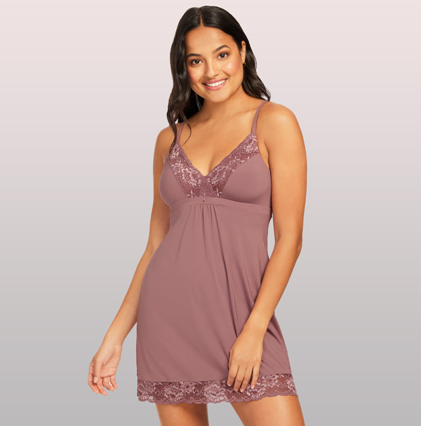 Montelle's Fan fav Bust Support Chemise in Mauve Mist SS21 - featured on Lingerie Briefs