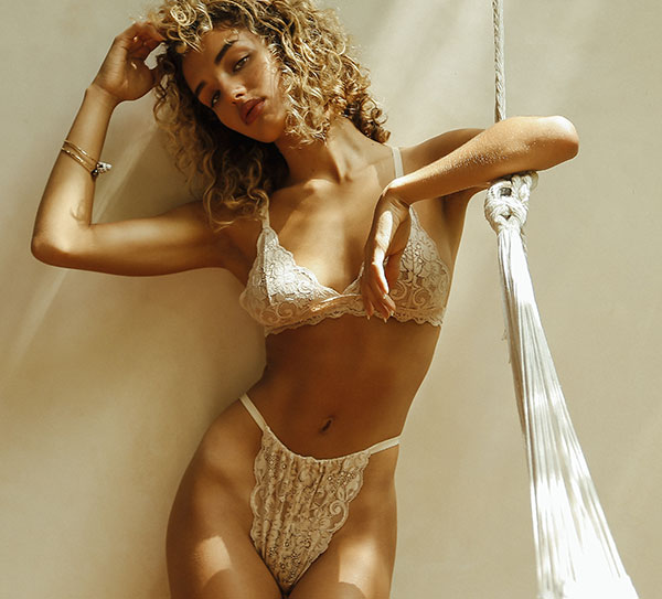 We Are HAH sustainable lace bralette and panty as featured on Lingerie Briefs