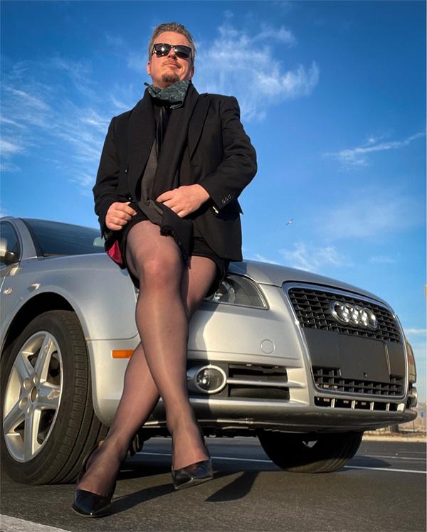 Man wearing hosiery on Lingerie Briefs - Paul Duane @SoulAnarchist