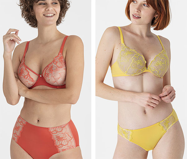 Maison Lejaby Flora yellow push up bra and russet underwire bra as featured on Lingerie Briefs