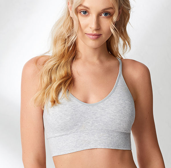 On Gossamer Debuts the Cotton Cabana Cami Bralette in Heather Grey