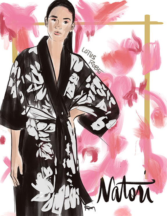 Fashion Illustration of Natori Loungewear as featured on Lingerie Briefs