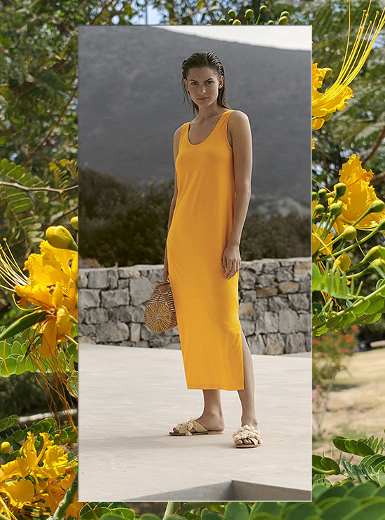 Hanro long nightgown in bright yellow as seen on Lingerie Briefs