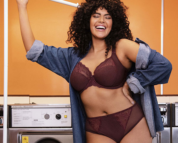 Elomi Lingerie Charley underwire stretch plunge bra in aubergine as featured on Lingerie Briefs