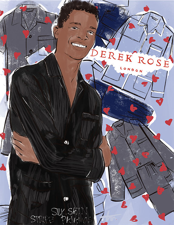 Derek Rose Men's Silk Pajamas as featured for Father's Day on Lingerie Briefs