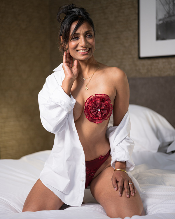 Breastflower is a decorative breast jewel/flower for women who have had a mastectomy. Featured on Lingerie Briefs