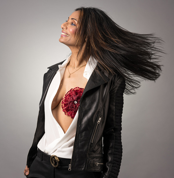Breastflower is a decorative breast jewel/flower that adheres to the chest for women who have had a mastectomy. Featured on Lingerie Briefs