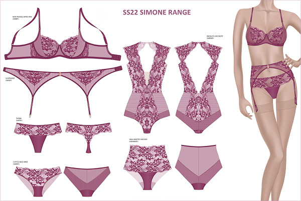 SS22 SIMONE collection from Katherine Hamilton featured on Lingerie Briefs