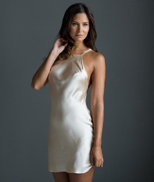 Tiffany 100% silk satin Short Slip by Emma Harris - featured on Lingerie Briefs
