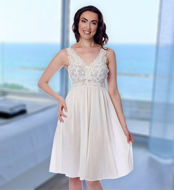 Shadowline Short Lace Bodice Nightgown featured on Lingerie Briefs
