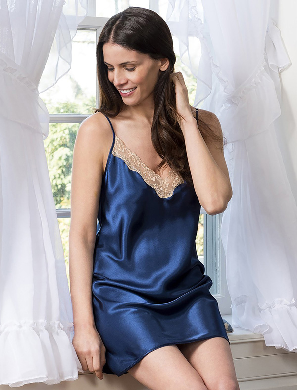 Shadowline's Vintage Lace Trim Chemise is a stunning short nightie featured on Lingerie Briefs