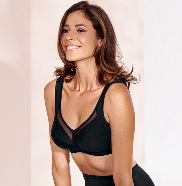 Anita Clara Comfort Soft Bra in Black up to an I-cup. Featured on Lingerie Briefs
