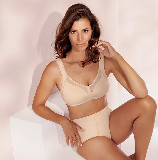 Anita Clara Comfort Soft Bra in Sand up to an I-cup. Featured on Lingerie Briefs