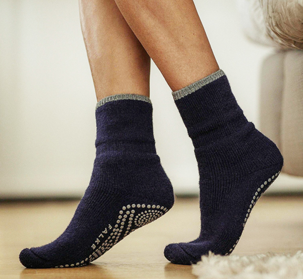 Falke Cuddle Pad Slipper Socks with Merino Wool with silicone grips as featured on Lingerie Briefs