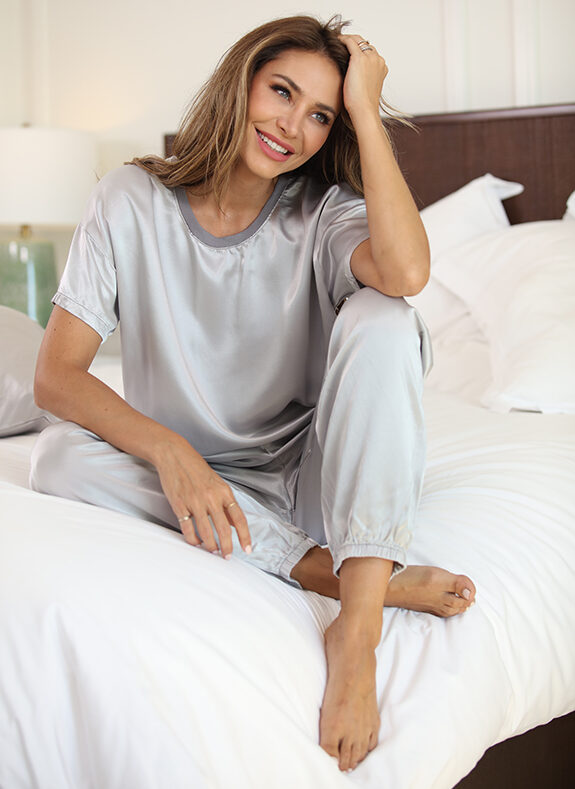 PJ Harlow Loungewear Kennedy tee and Sunny jogger in pearl grey as featured on Lingerie Briefs