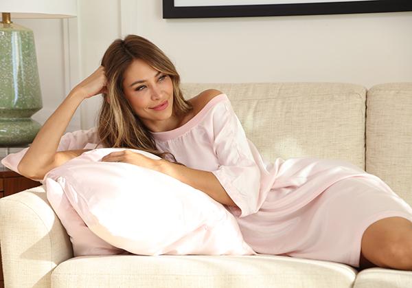 PJ Harlow Loungewear Quincy sleepshirt in blush as featured on Lingerie Briefs