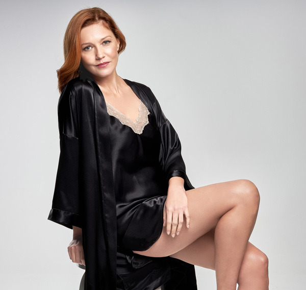 Shadowline Chemise and Robe from Essentials Collection. Featured on Lingerie Briefs