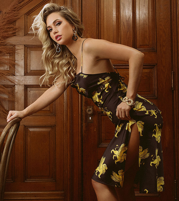 Kilo Brava Lioness Satin collection with griffin motif as featured on Lingerie Briefs