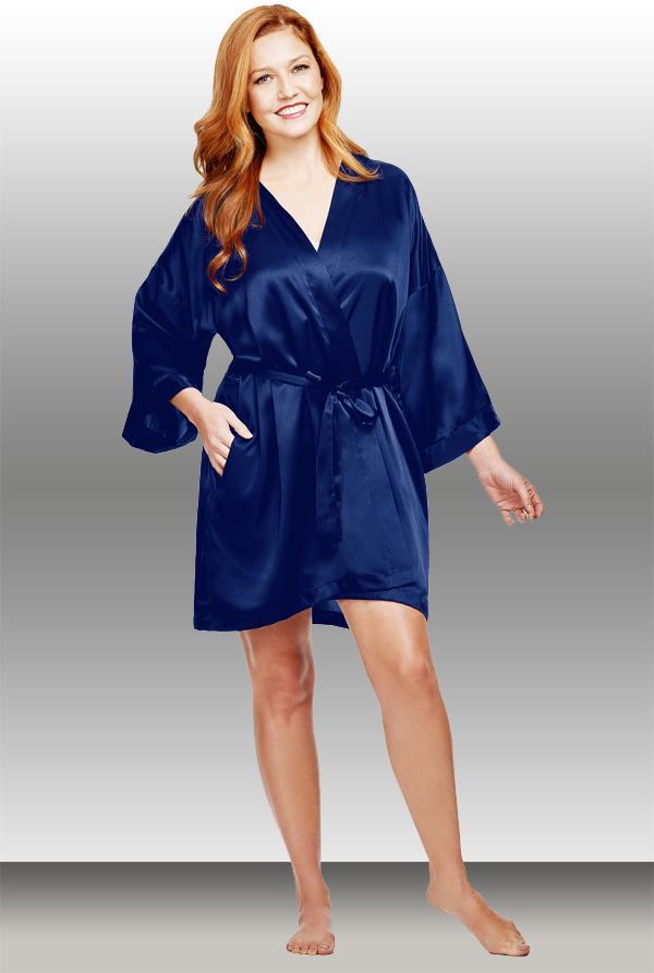 Shadowline Satin Wrap Robe (#4510) is a silky, kimono-style robe. Featured on Lingerie Briefs